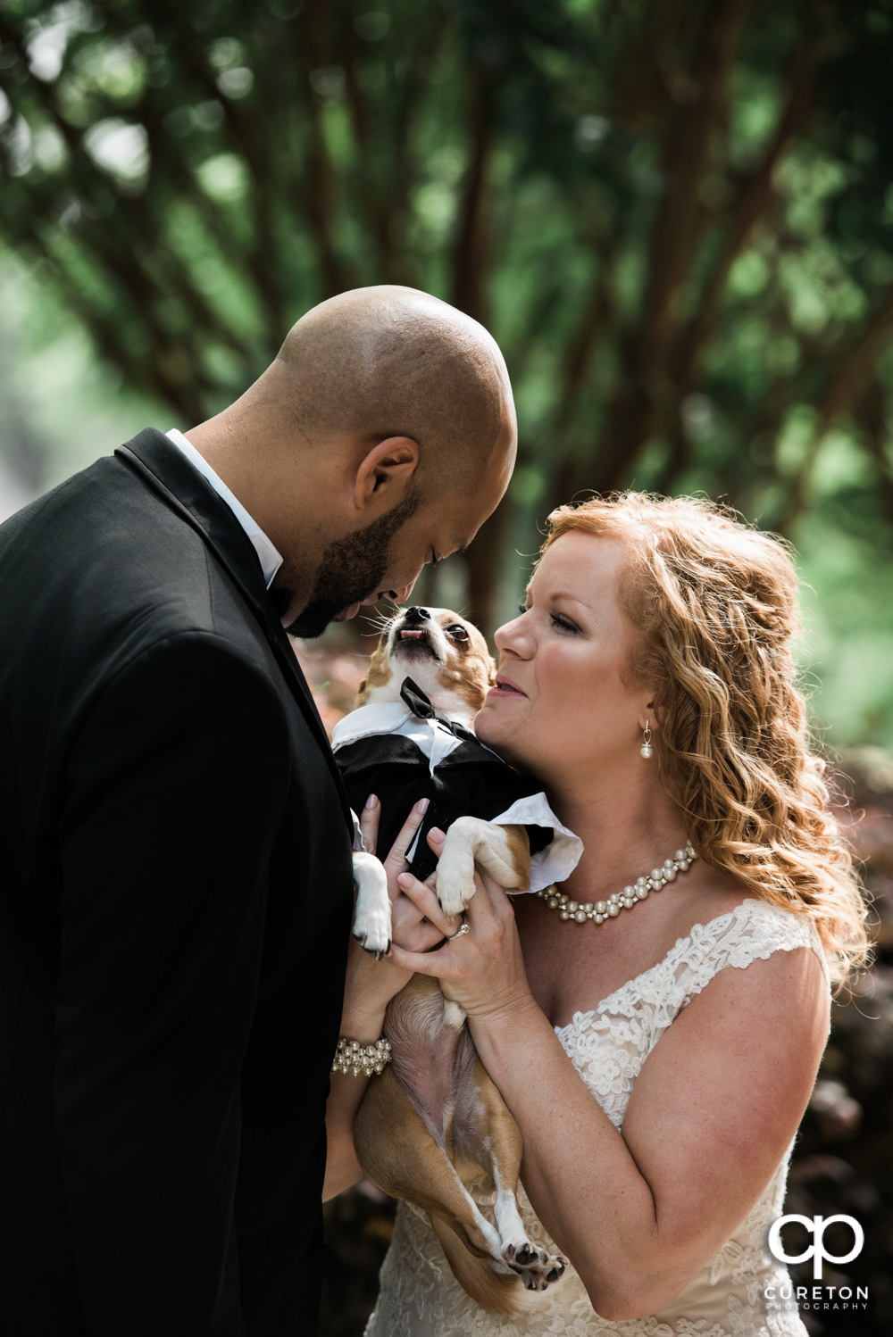 Bride and Groom with their dog before the wedding.