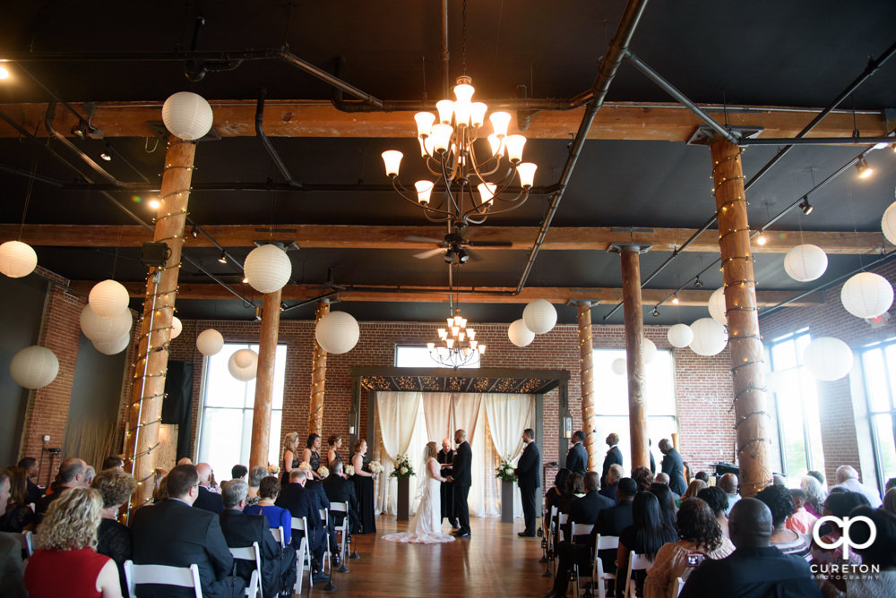 Wedding ceremony at The Loom at Cotton Mill Place in Simpsonville,SC.