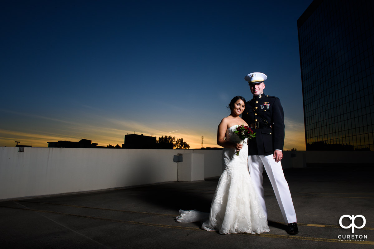 Bride and groom at sunset after their wedding ceremony at The Commerce Club in Greenville,SC.