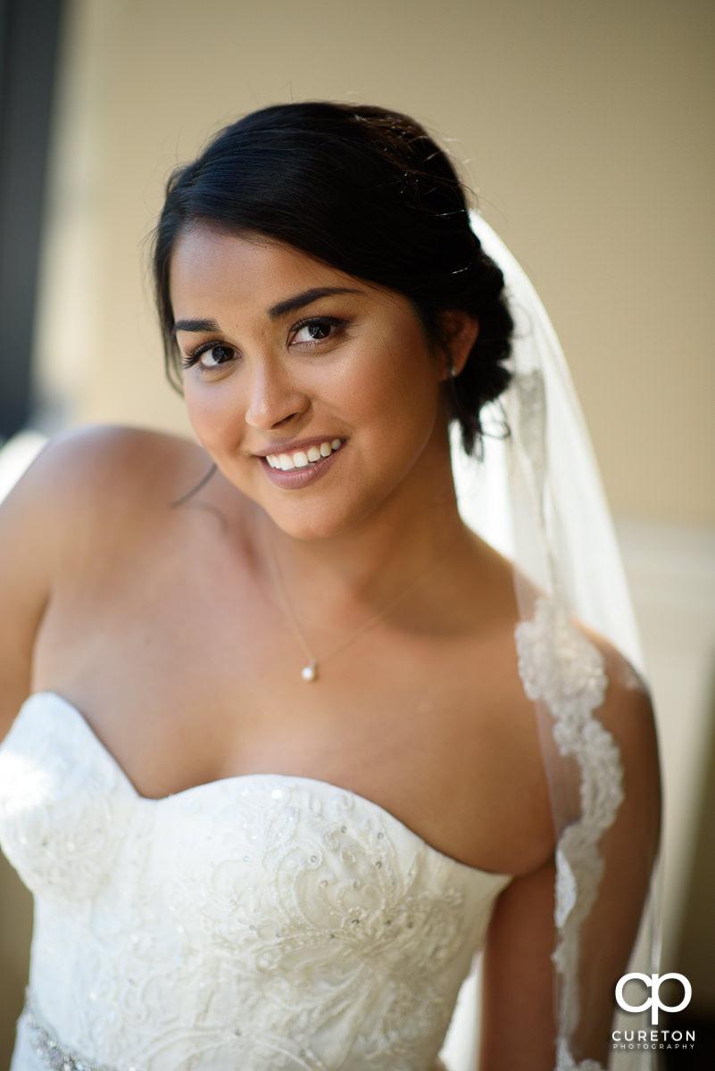 Bride looking at the camera.