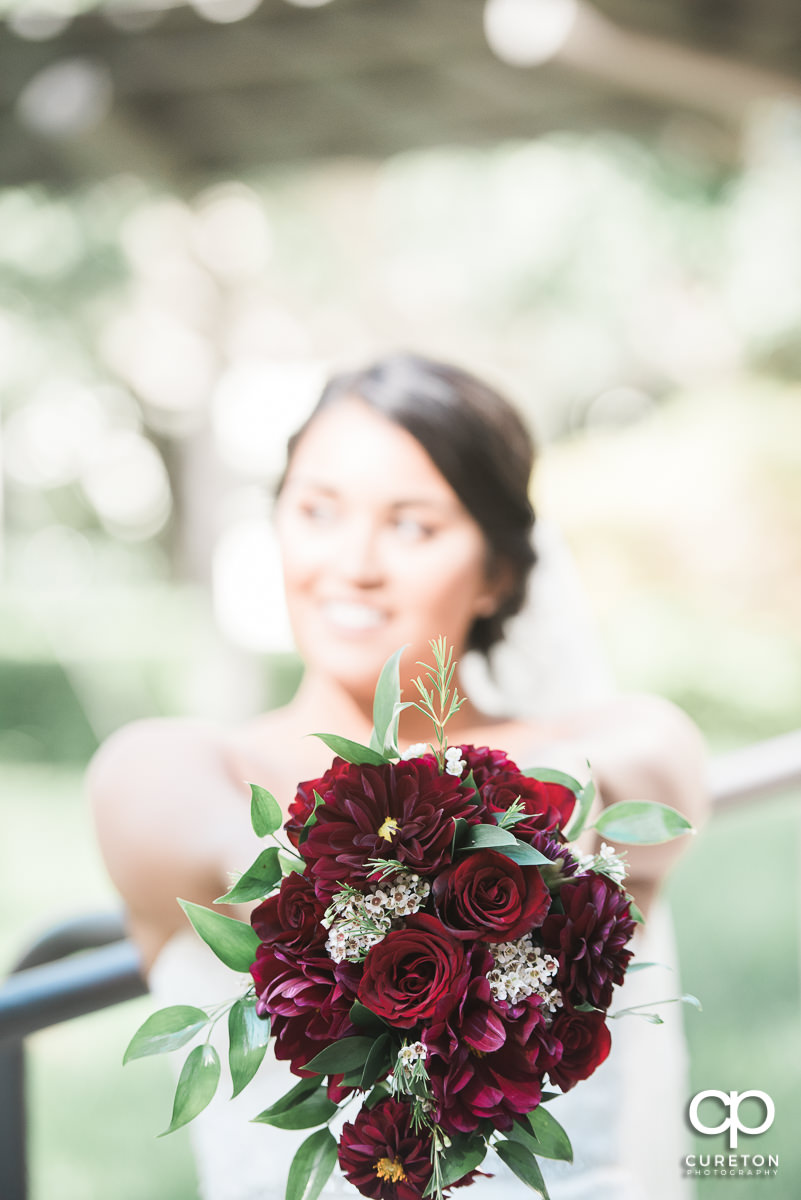 Bride's bouquet of red roses.