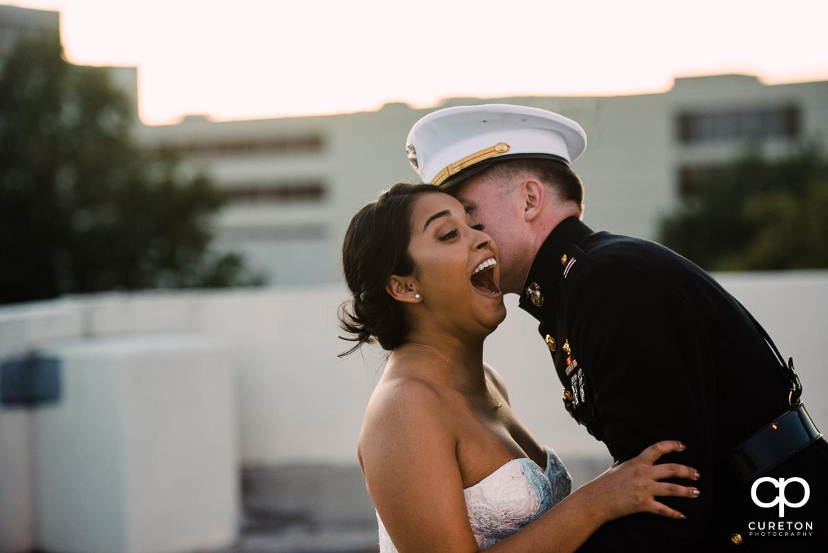Bride smiling at her groom.