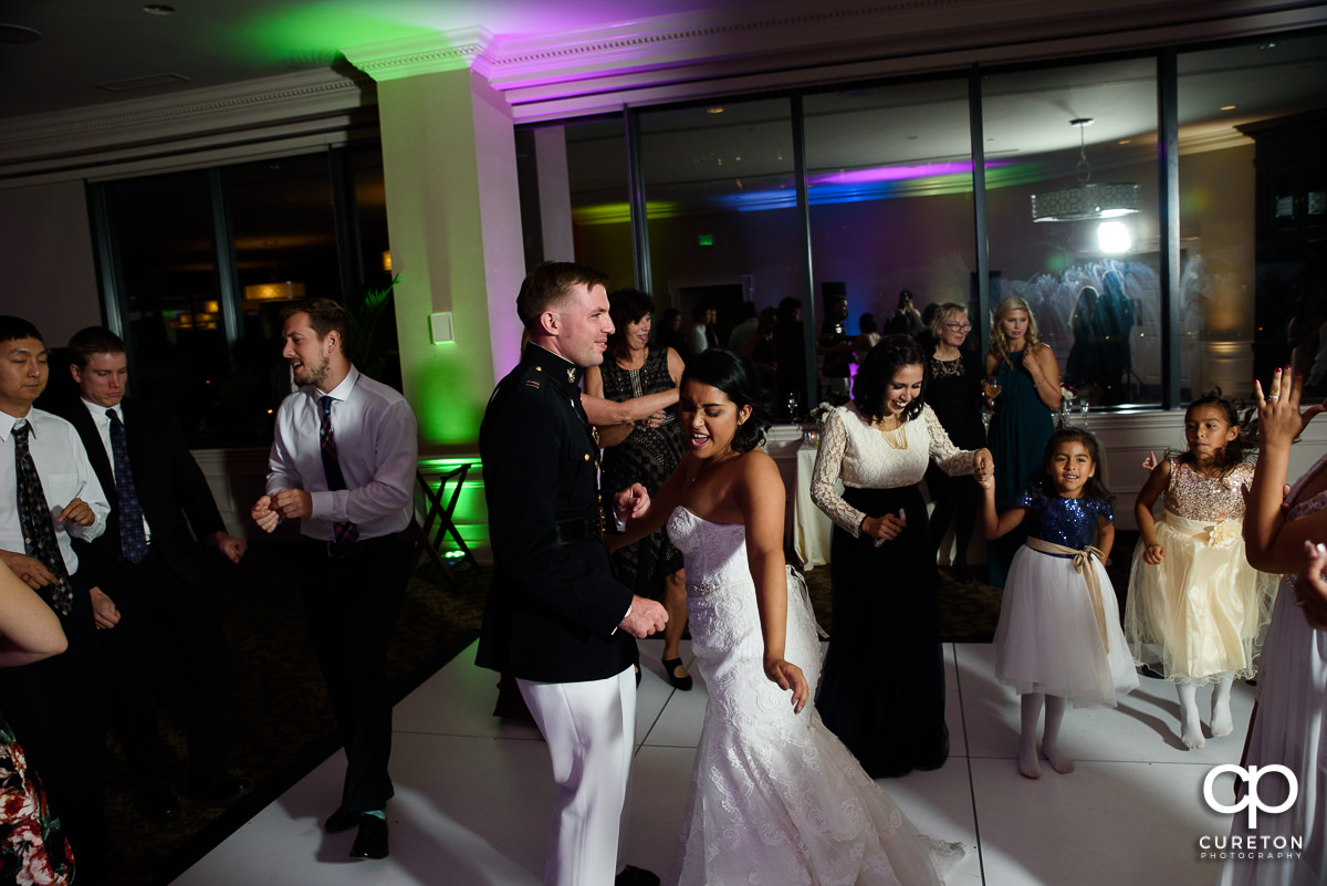 Bride and groom dancing at The Commerce Club.