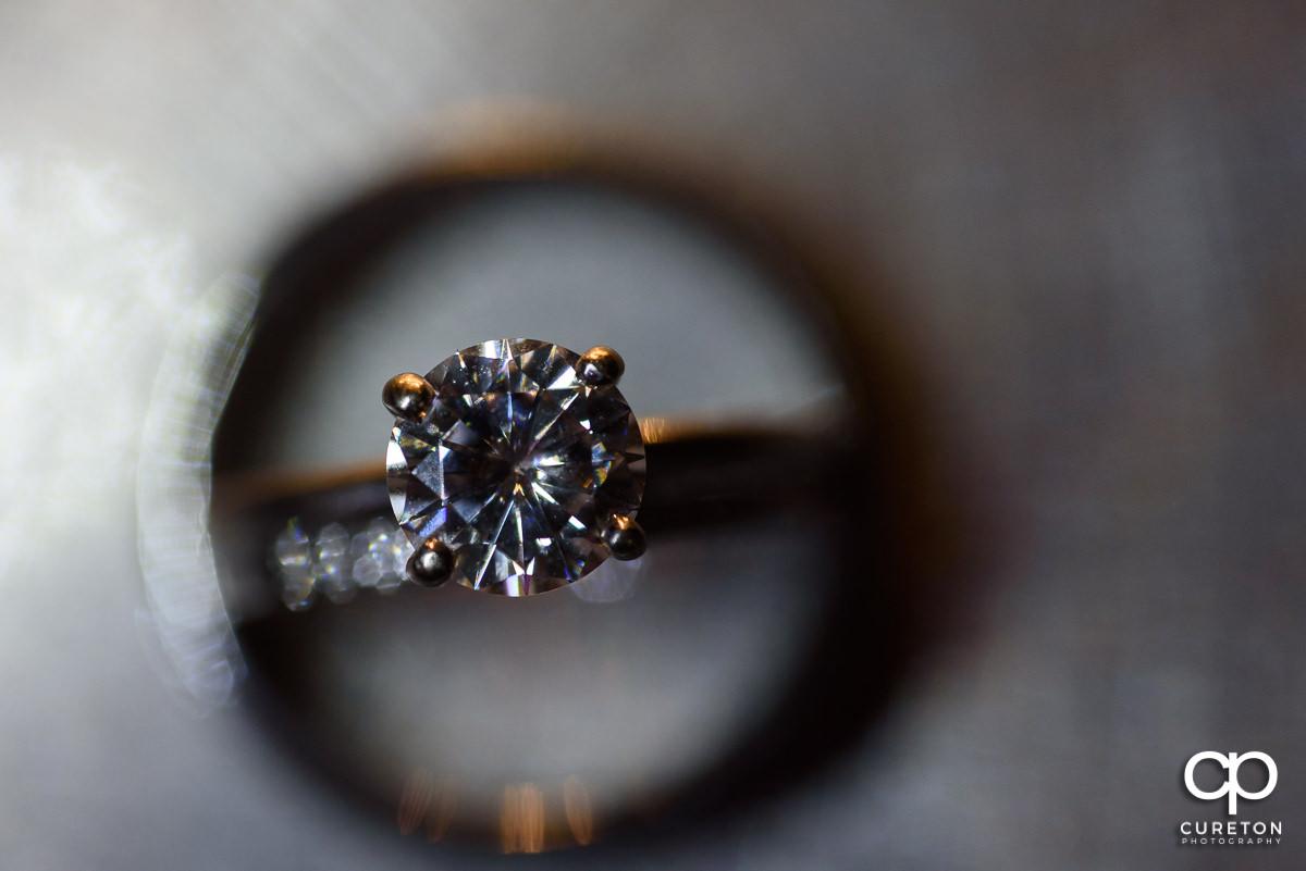 Wedding ring macro close up.