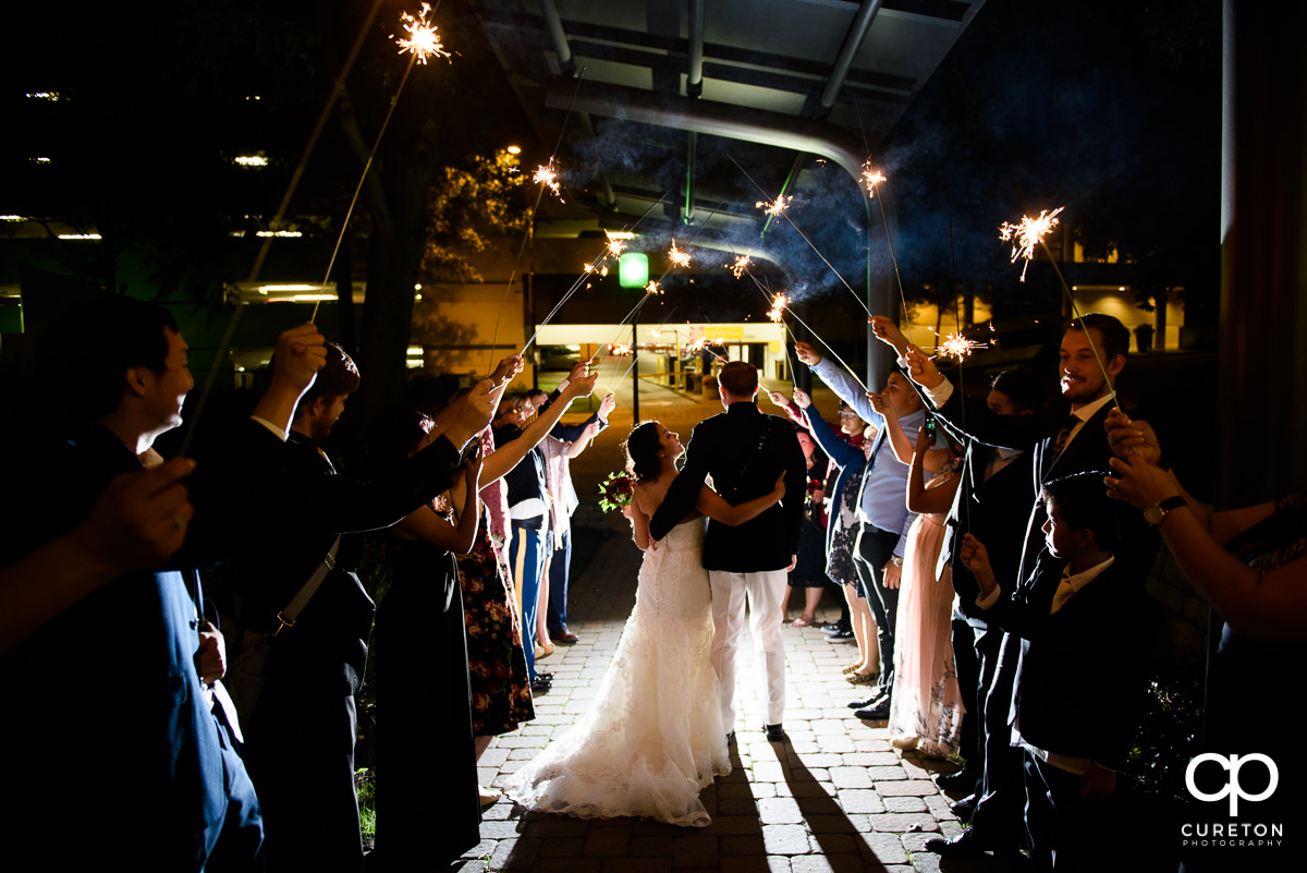 Bride and groom sparkler exit at the Commerce Club downtown.