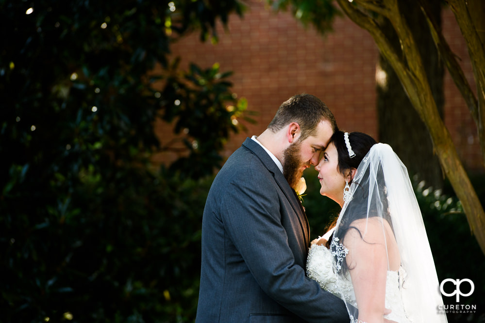Bride and groom touching foreheads.