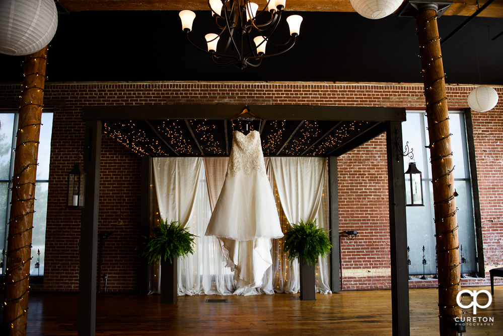 Bride's dress hanging at the Loom.