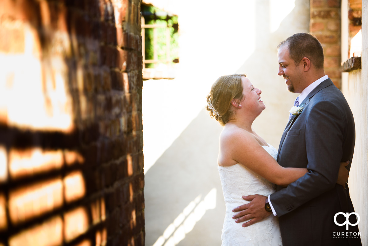 Bride and groom have a first look at Old Cigar Warehouse in downtown Greenville,SC.