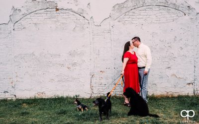 West End Greenville,SC Engagement Session (with Dogs!) – Tori + Mike