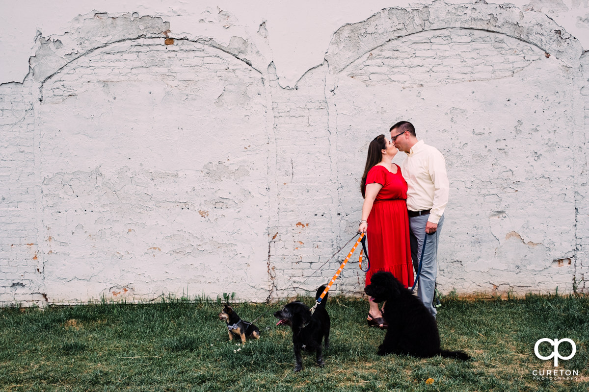 Couple kissing while holding their 3 dogs at a downtown Greenville SC engagement session.