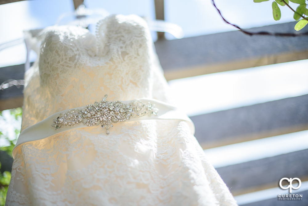 Closeup detail of the bridal dress.