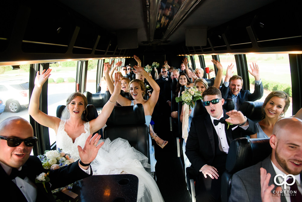 Wedding party on the party bus by Eastside Transportation.