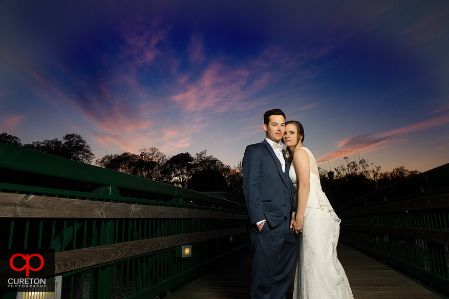 Bride and Groom at sunset after their wedding at Cleveland Park in Spartanburg,SC.