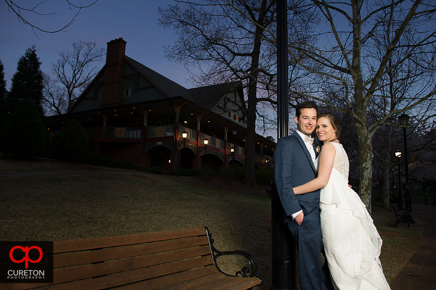 Bride and Groom in front of the lodge at Cleveland Park in Spartanburg.