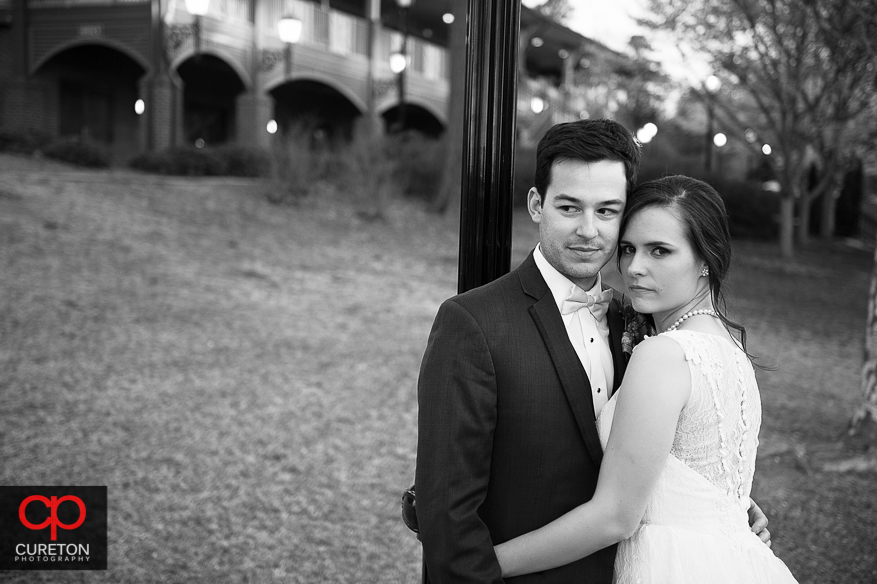 High fashion photo of bride and groom in Spartanburg .