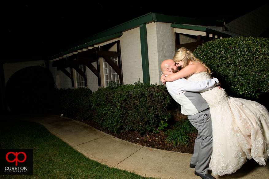 Couple after their Larkin's Sawmill wedding reception in Greenville,SC.