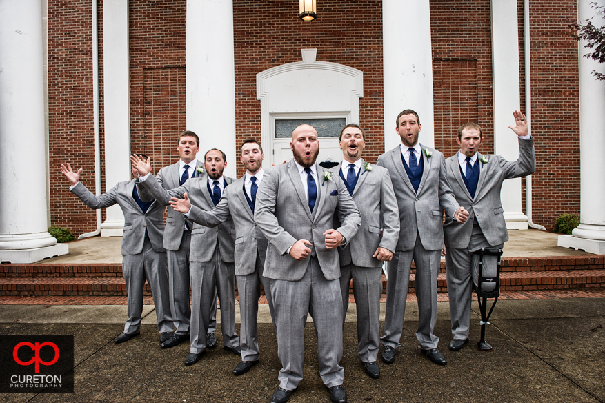 Groomsmen in front of Berea First Baptist Church before the wedding ceremony.