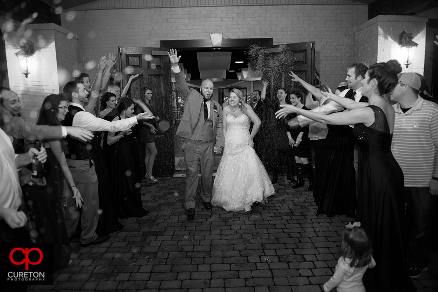 Bride and groom leave though confetti.