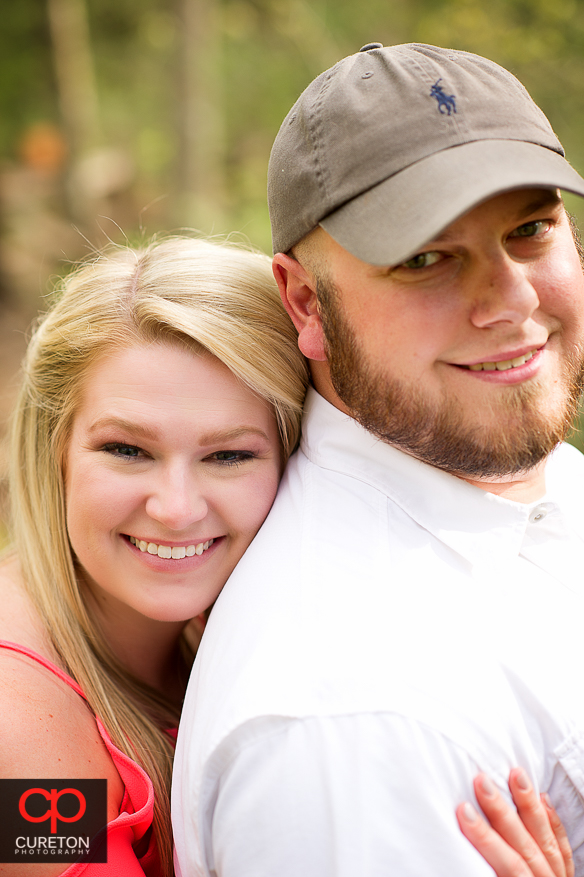 Closeup picture of a recently engaged couple.