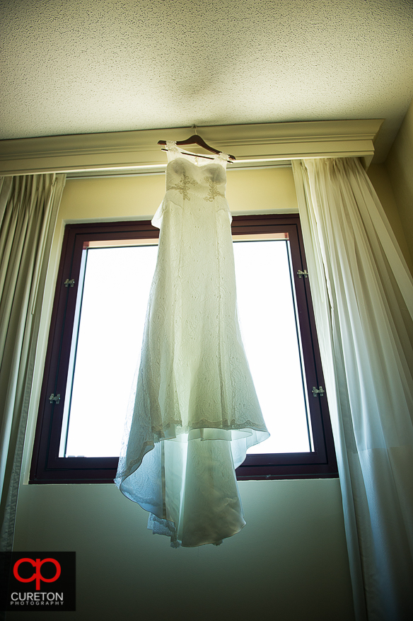 Dress hanging in the Spartanburg Marriot.