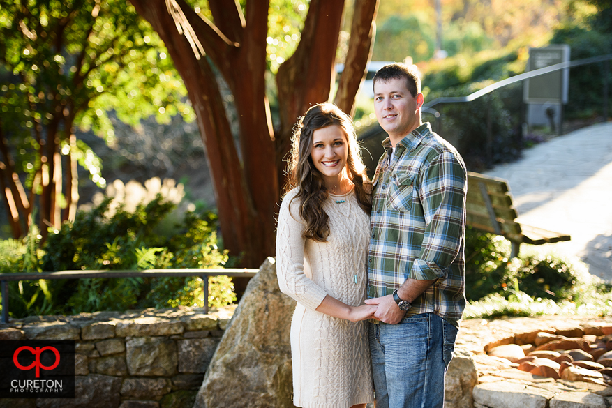 Engaged couple in perfect light.