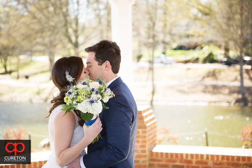 Bride and groom during their first look at Cleveland Park in Spartanburg.