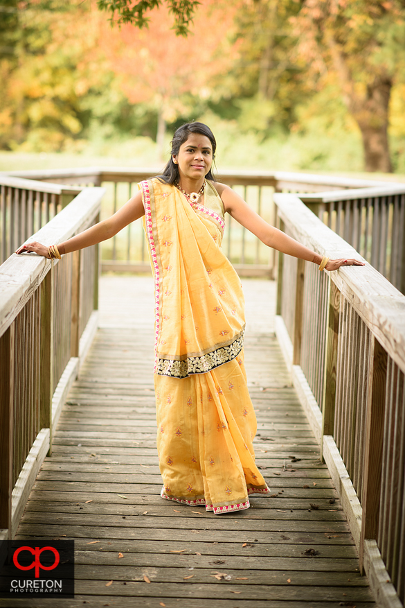 Indian bride posing after her pre-wedding VIdhi ceremony.