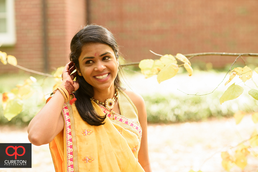 Beautiful bride after her Indian wedding video ceremony in Greenville,SC.