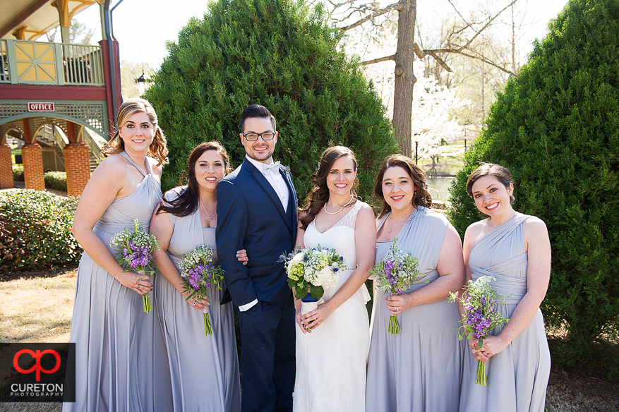 Bridesmaids posing in Cleveland Park.