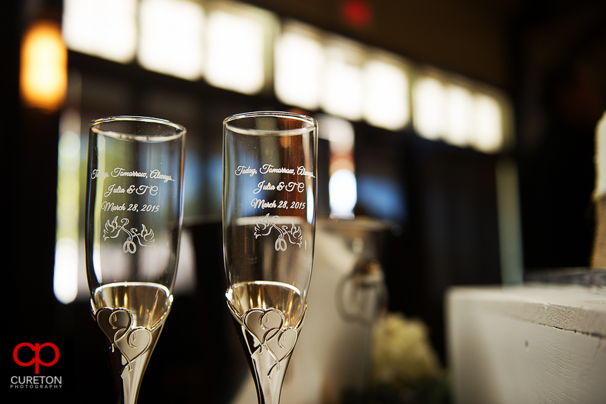 Toasting glasses with engraving.