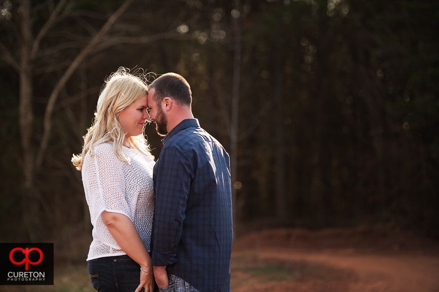 Couple sharing a moment during their engagement session.