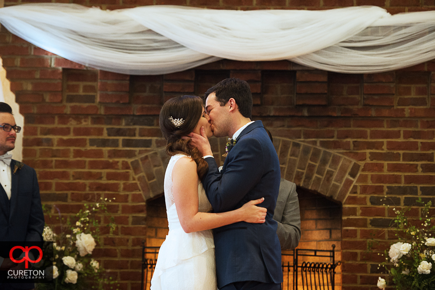 Bride and Grooms first Kiss.