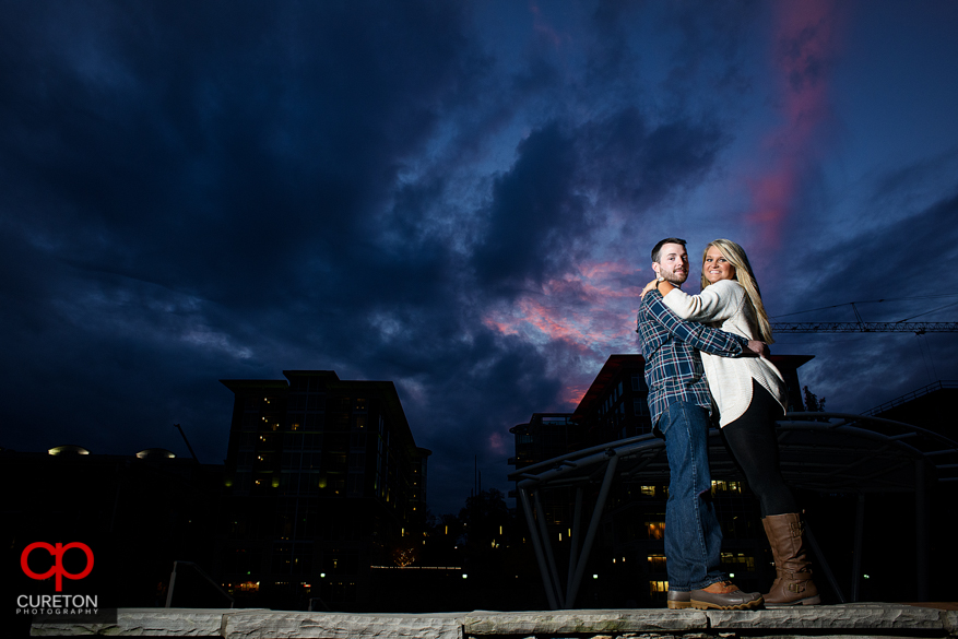 Beautiful sunset during a downtown Greenville,SC engagement session.