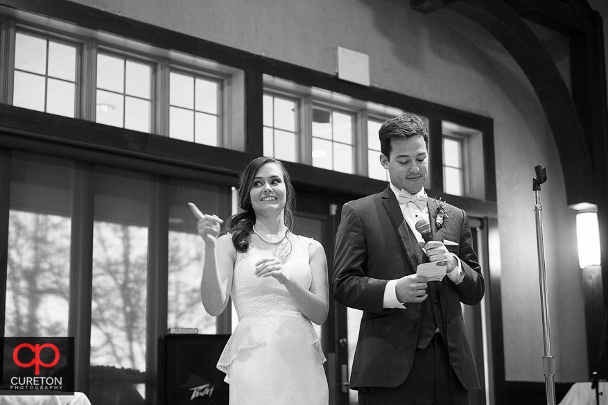 Bride and groom address the guests.