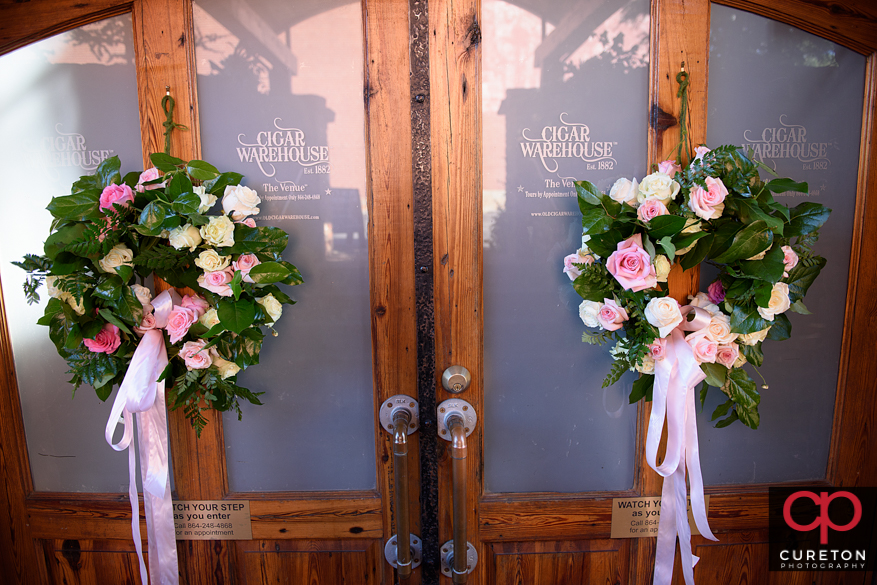 Flowers by Grerg Foster on the door of the Old Cigar Warehouse.