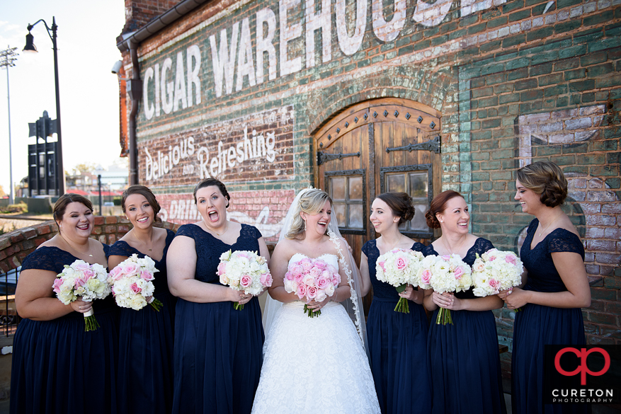Bridesmaids on the deck at the Old Cigar Warehouse inGreenville.