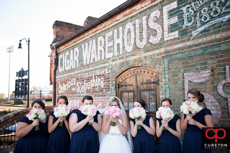 Bride and bridesmaids at The Old Cigar Warehouse in downtown Greenville,SC.