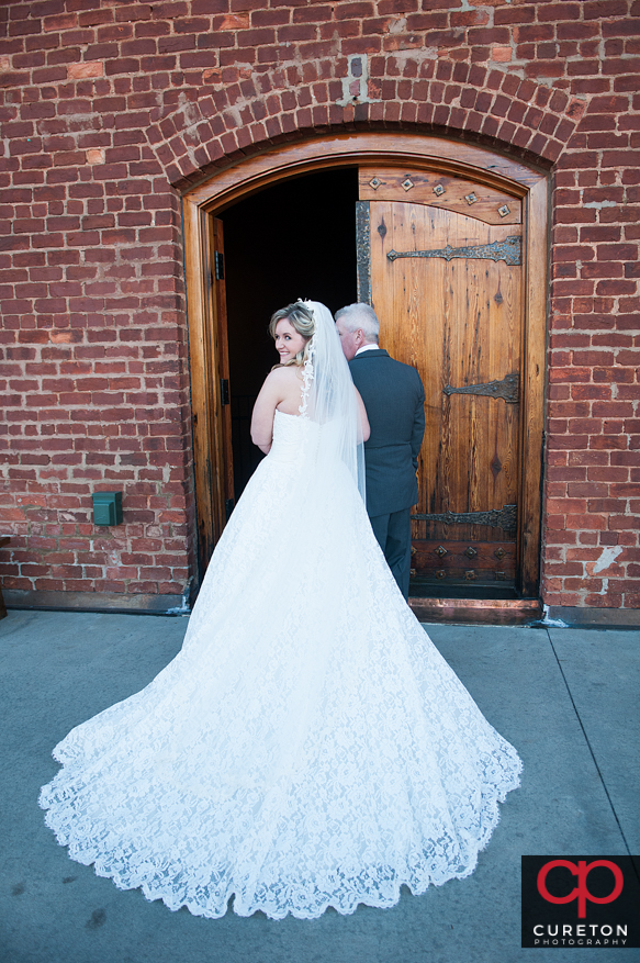 Bride and dad entering OCW.