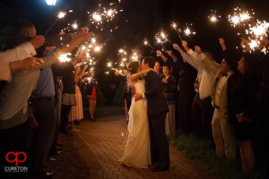 Sparkler exit at Cleveland park in Spartanburg after the wedding.