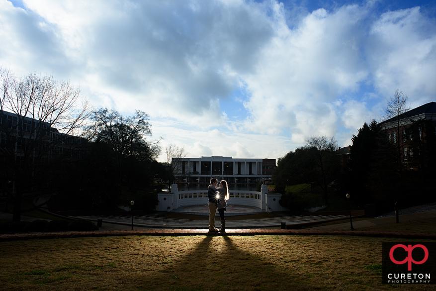 Epic Clemson University engagement photo facing the amphitheatre.