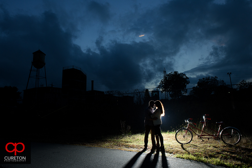 Epic skyline during their engagement session on the Swamp Rabbit Trail in Greenville,SC.