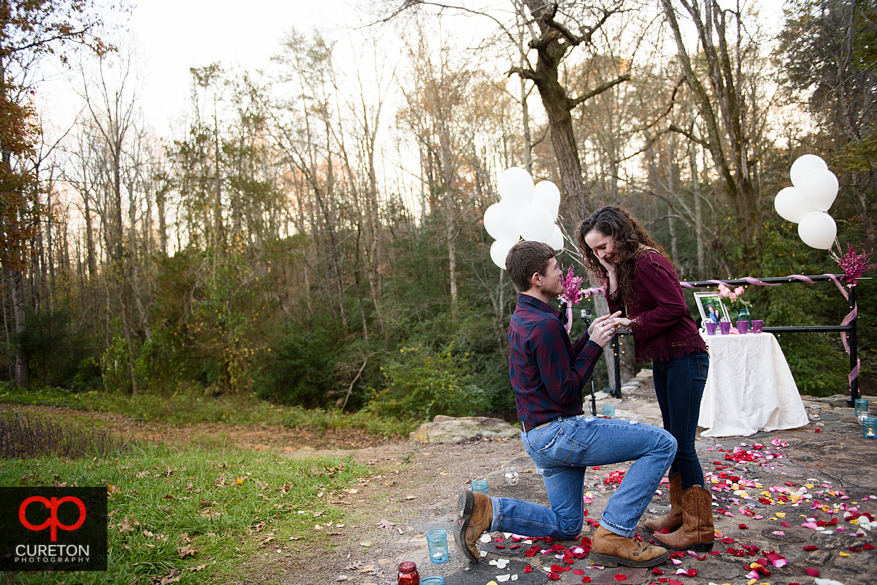 Man proposing to his fiancee at Campbell's covered bridge in Greer,SC.