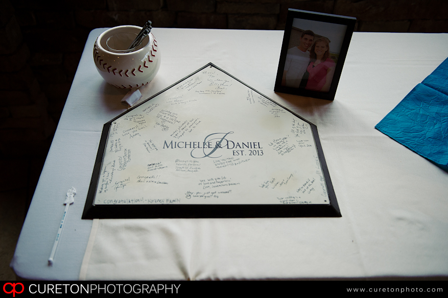 Baseball plate as a guestbook for wedding.