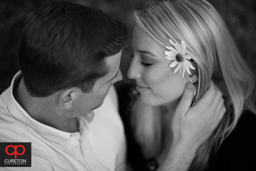 Balc and white of engaged couple inCLemson.