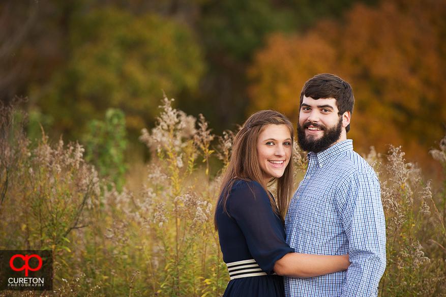 Closeup of engaged couple.