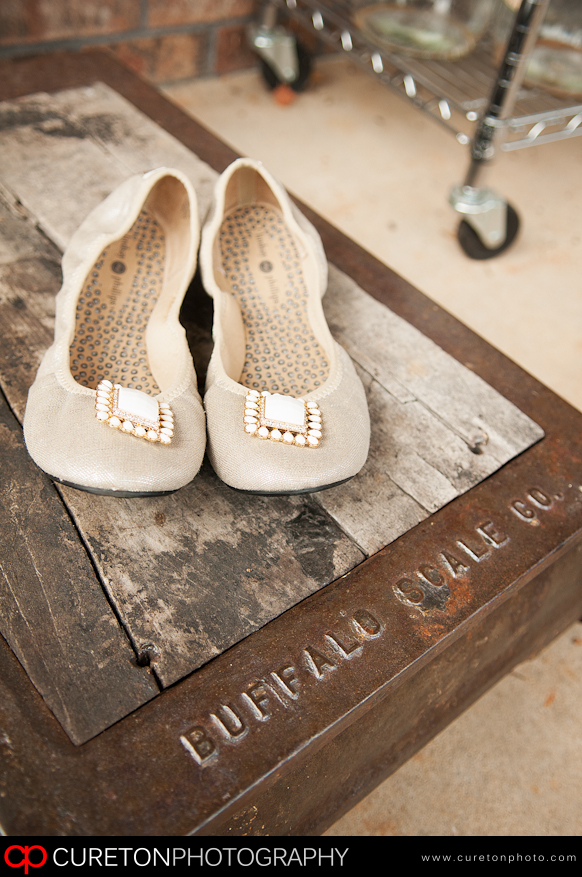 Brides shoes on an old scale.
