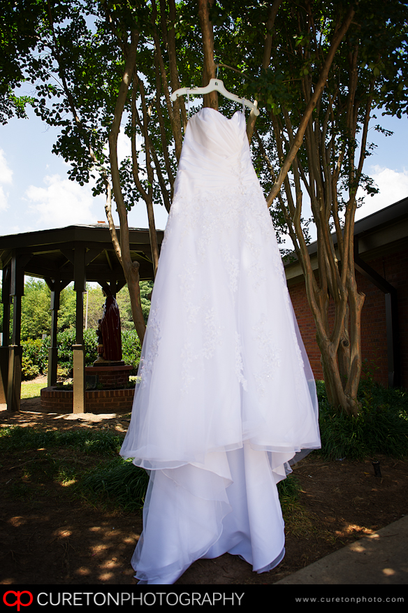 Bridal Dress hanging in a tree.