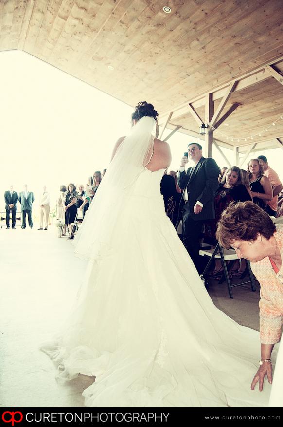 Bride walking dow the aisle.