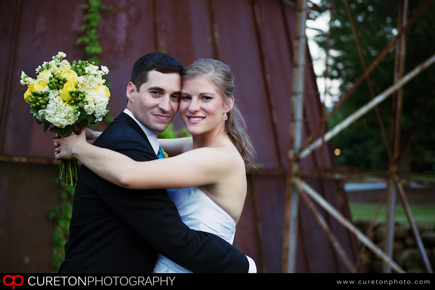 Bride and Groom outside the Sawmill.