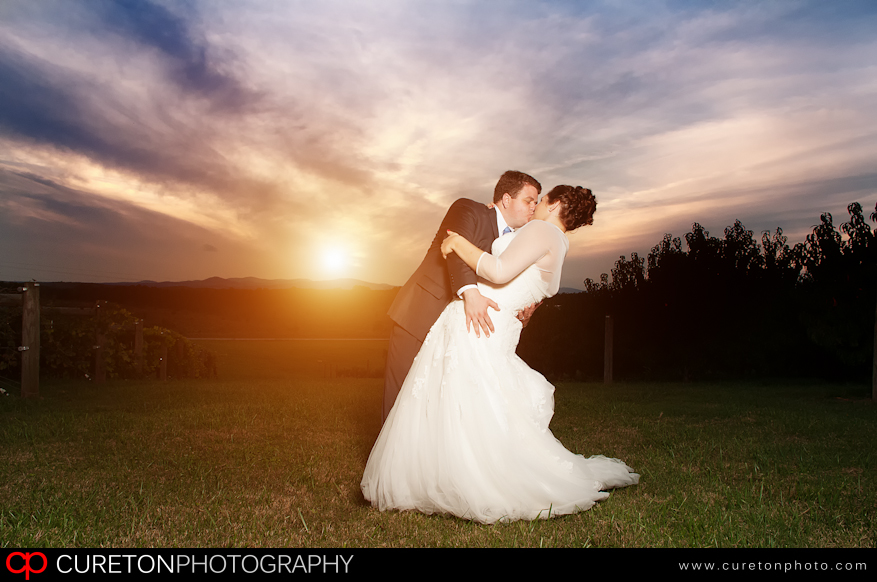 Couple dancing during sunset after their wedding at Chattooga Belle Farm.